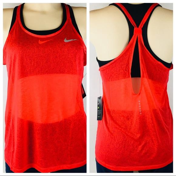 New Nike Women Dri Fit Cool Breeze Top S Red Strap NWT